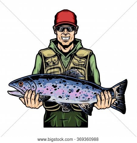 Happy Fisherman Holding Rainbow Trout Fish In Vintage Style Isolated Vector Illustration