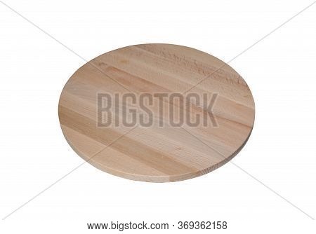 Round Wooden Cutting Board Isolated On A White Background. Empty Pizza Or Food Board.