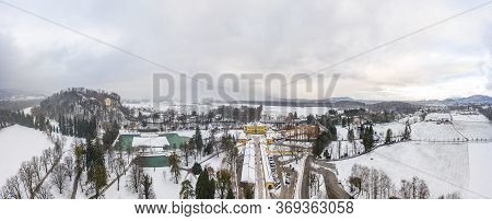 Aerial View Of Schloss Hellbrunn Covered In Snow Near Salzburg Outskirts In Winter Time