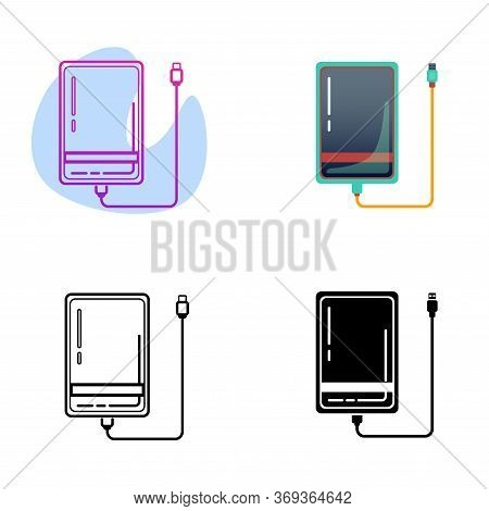 Set Of External Hard Disk Drive With Usb Cable Isolated On White Background. Color Flat Powerbank Fo