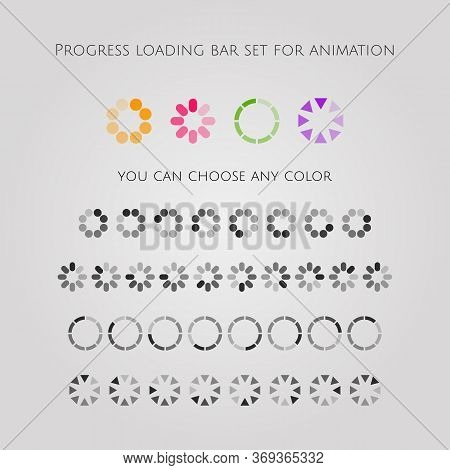 Loading Bar Icon Set, Different Slyles Of Web Loaders Design Collection. Flat Vector Design Elements