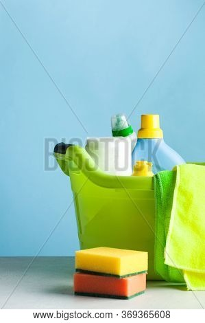 Household Chemicals, Cleaning Sponges, Plastic Basin. General Cleaning, Cleaning Company Concept, Cl