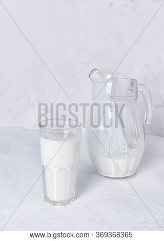 Fresh Simple Homemade Yogurt Yogurt, Yogurt, Kefir, Ayran, Lassi In Glass On A Gray Background, Copy