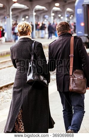 Couple On Their Way To The Train Platform At Bucharest North Railway Station (gara De Nord Bucharest