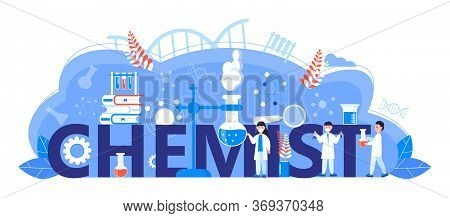 Chemist Online Learning Concept. Biological Technology, Biotechnology Science Vector. Scientists Stu