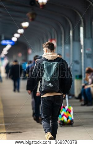 Young Man With Backpack On The Train Platform Of Bucharest North Railway Station (gara De Nord Bucha