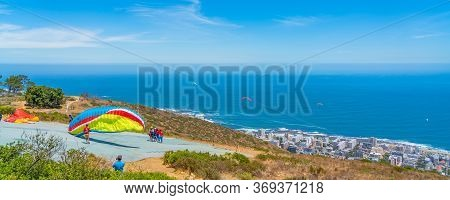 Cape Town South Africa- January 28, 2020 : Panorama View Of Cape Town And The Ocean, South Africa Wi