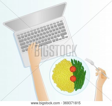 Top View Of The Hands Of A Woman Eating A Healthy Meal Of Pasta With Asparagus And Tomatoes While Wo
