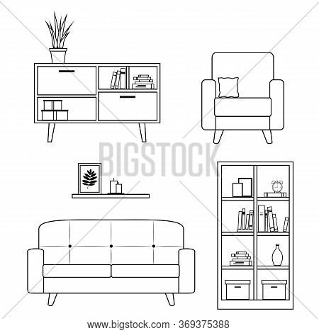 Set Of Furniture And Home Decor For Living Room Including Sofa, Armchair, And Bookcase. Lineart Desi