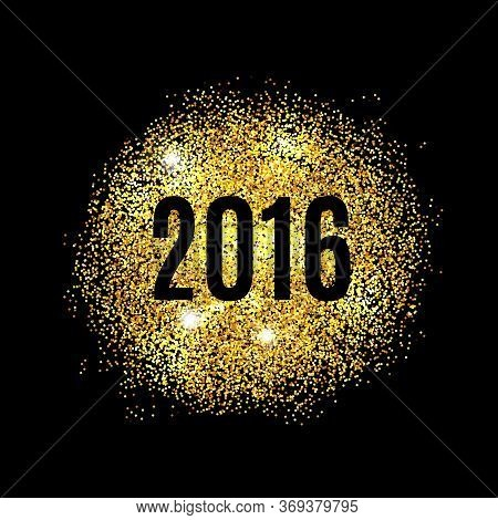 Gold Glitter Happy New Year 2016 Background. Glittering Texture. Gold Sparkles With Frame. Chic Invi