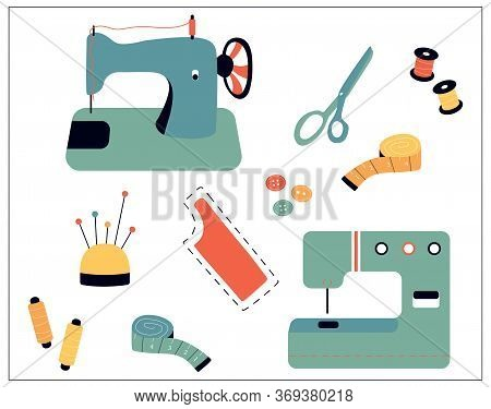 Vector Illustration Of Sewing Stuff - Sewing Machine, Scissors, Threads, Needles, Pins, Measuring Ta