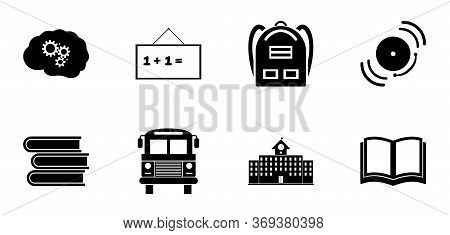Back To School Icon Set. Education Icons Contains School Building, Open Book, Textbooks, Backpack, B