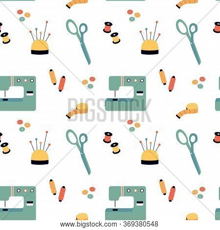 Seamless Pattern With Sewing Stuff - Sewing Machine, Scissors, Threads, Needles, Pins, Measuring Tap