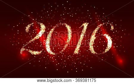 Happy New Year 2016. Red Holiday Vector Background With Sparkles