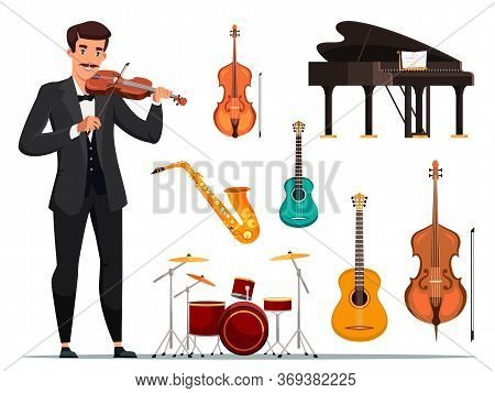 Orchestra Items Flat Vector Illustrations Set. Violin Musician And Band Stuff. Grand Piano, Guitar,