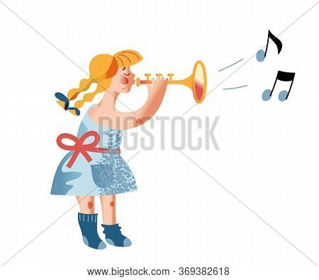 Girl Playing Trumpet Flat Vector Illustration. Kid Musician In Dress Cartoon Character. Child With B