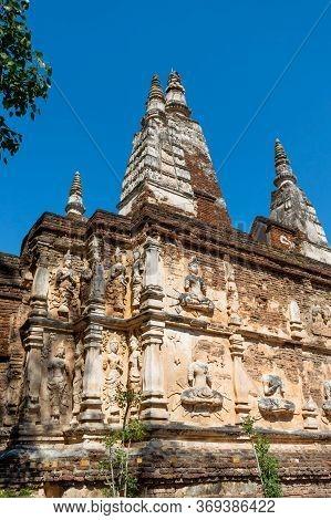 Wat Chet Yot Temple,b.e. 1998 King Bhumibol Adulyadej The 9th King Of The Mangrai Dynasty Built Of L