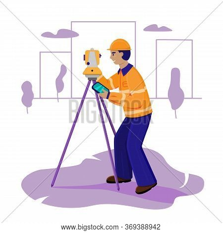 Surveyor Working With Theodolite Outdoor On The Background Trees And City. Engineer With Surveyor Eq