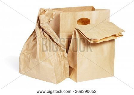 Three Paper Bags on White Background