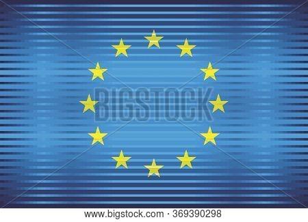 Shiny Flag Of European Union - Illustration,  Three Dimensional Flag Of European Union