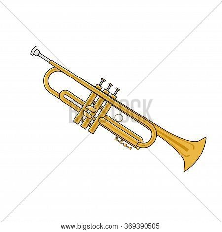 Vector Illustration Of Trumpet Isolated On White Backround