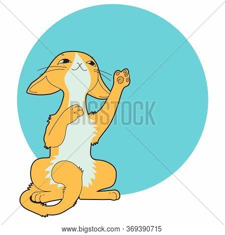 Cartoon Slender Green-eyed Orange Cat With A White Marquise Spot, Sitting On Its Hind Legs Playing,