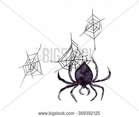 Hand-drawn Watercolor Illustration. A Black Spider Is Descending Its Web Upside Down. The Attribute