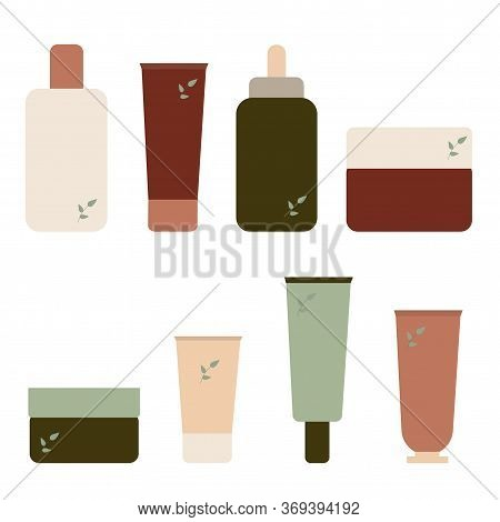 Set Of Cosmetic Products. Tubes With Cream Or Skin Care Whip In Flat Style. Ecological Cosmetic Conc