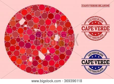 Vector Map Of Cape Verde Islands Collage Of Round Dots And Red Watermark Stamp. Stencil Round Map Of
