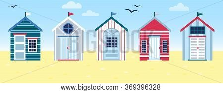 Flat Vector Tropical Illustration Of Colorful Beach Huts In Row On Sea Side Landscape. Concept Of Su