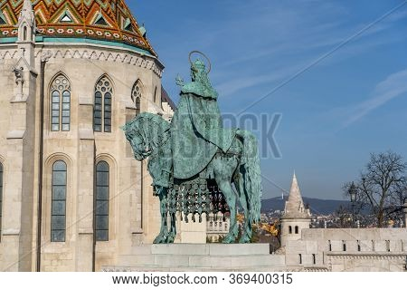 Bronze Equestrian Statue Of King Stephen In Front Of Matthias Church In Budapest