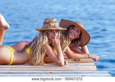 happy healthy girls on summer vacation