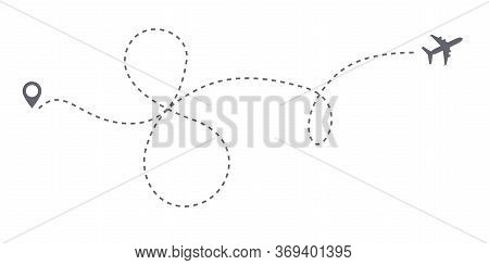 Vector Infinity Or 8 Eight Airplane Route Travel Path. Air Plane Flight Route With Start Point And D