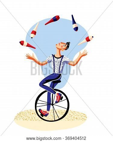 Male Juggler With Clubs Riding Unicycle On White. Circus Actor Juggling. Man Artist Character Balanc