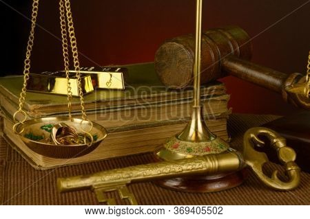 A Vintage Style Image Of An Antique Brass Scale Measuring Gold As The Point Of Focus.
