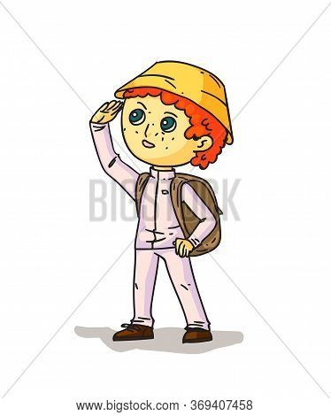 Boy Hiker With Backpack Isolated On White. Camping Activity. Cheap Traveling Choice. Extreme Adventu