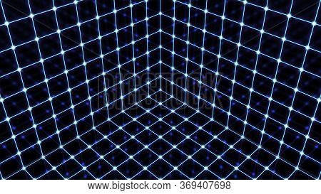 Inside Synthwave Glowing Retro Wireframe Rotating Neon Cube Grid - Abstract Background Texture