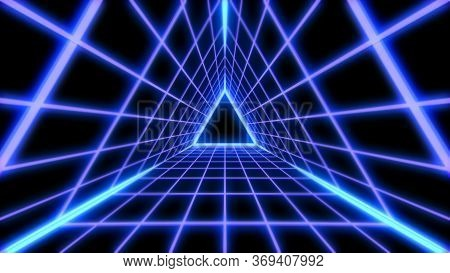 Retro Futuristic 80s Vaporwave Triangle Grid Synthwave Tunnel - Abstract Background Texture