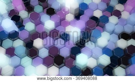 Shiny 3d Hexagon Tessellation Network Randomly Moving Up And Down - Abstract Background Texture
