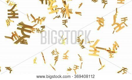 Shiny Golden Rupee Signs Falling Down In Slow Motion 3d Animation - Abstract Background Texture
