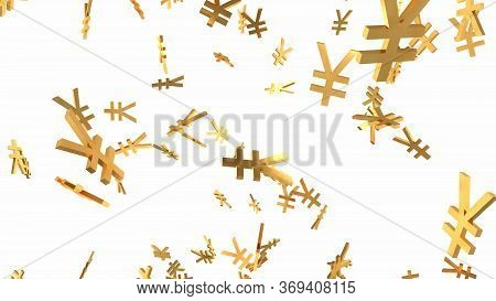 Shiny Golden Yen Signs Falling Down In Slow Motion 3d Animation - Abstract Background Texture