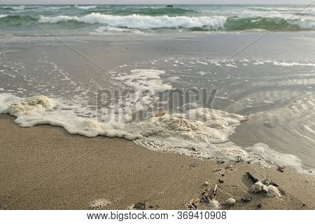 Polluted Sea Foam, Chemical Waste Discharge On Ocean Ecosystem, Water Pollution
