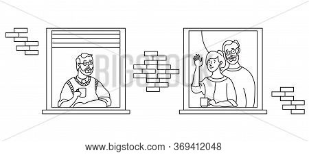 Elderly Couple Looking For A House. Windows With People Neighbors. Self-isolation, Quarantine During