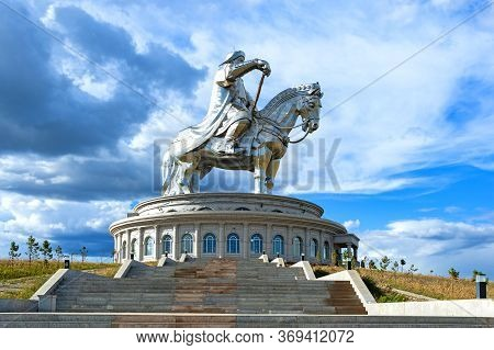 Ulan Bator, Mongolia - August 25, 2016: Genghis Khan Statue Complex, Featuring A Large Equestrian St