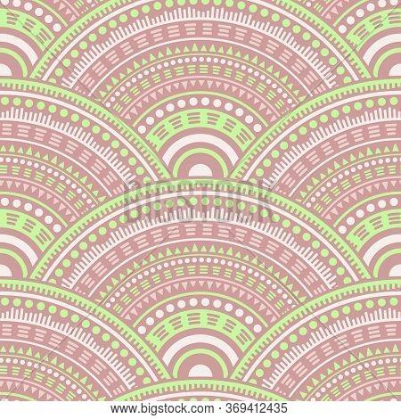 Moroccan Circular Shapes Wallpaper Design Vector Seamless Pattern. Oriental Motifs Organic Line Art