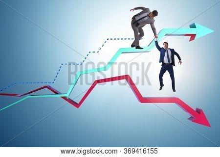 Businessman saving competitor during the crisis
