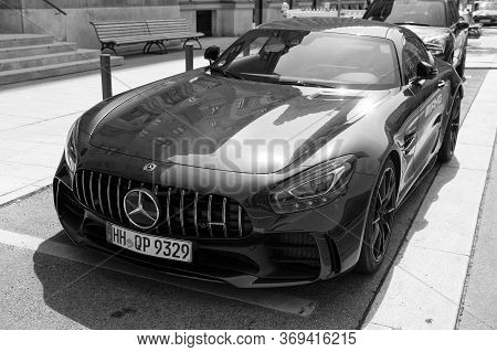 Hamburg, Germany-july 27, 2019: Supercar Mercedes Benz Amg C63 V8 Biturbo Black Color Parked At The