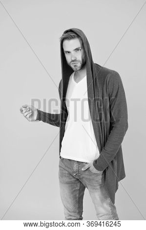 Just Hang Out. Comfy Garment For Daily Life. Fashion Man Yellow Background. Fashion Look. Handsome G