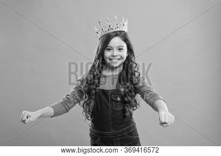 Curly Hairstyle. Gorgeous Hair Award. Kid Wear Golden Crown Symbol Of Princess. Girl Cute Baby Wear