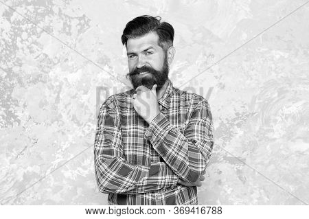 I Think So. Confident Hipster In Checkered Shirt. Hipster Style. Guy Hipster Outfit. Mature And Tren